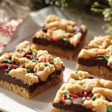 fudge filled holiday peanut butter bars
