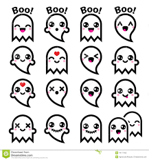 cute halloween ghost pictures kawaii cute ghost for halloween icons set stock illustration