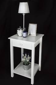 53175 square white wooden square side table one drawer Small White Side Table