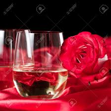 Beautiful Wine Glasses Two Stemless White Wine Glasses Served On A Red Silk Table Cloth