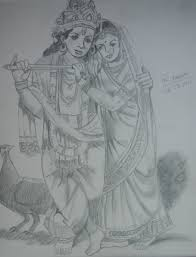 radhe krishna pencil sketch desipainters com