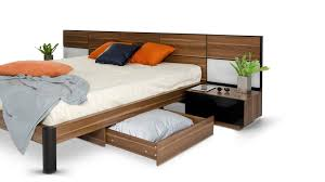 Modern Platform Bedroom Sets Rondo Modern Platform Bed With Nightstands Storage And Lights