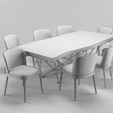 cattelan italia gordon deep wood table magda chair 3d model max