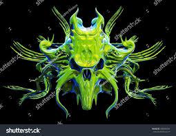 monster skull design on black background stock illustration