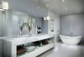 White Bathroom Mirror by Wondrous Bathroom With Freestanding Tub Showcasing White Acrylic