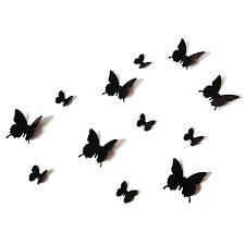 amazon com 12pcs 3d black butterfly wall stickers art decal pvc