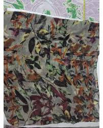 scarf grayish brown purple and green mix pattern soft cotton
