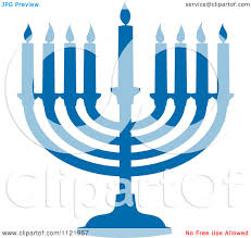 menorah candles clipart of a silhouetted blue hanukkah menorah with lit candles
