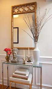 Foyer Console Table And Mirror Faux Python Console Table With Sunburst Mirror