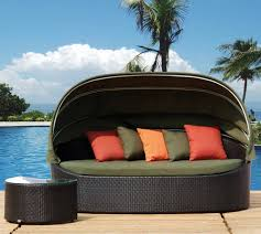 Circular Patio Seating Furniture Modern Outdoor Daybed With Canopy For Unique Patio