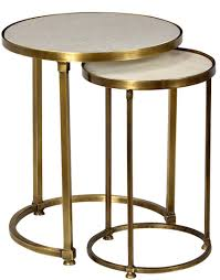 side table set of 2 audrey marble and antiqued brass side table set mortise tenon