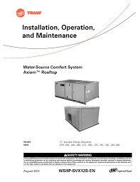 trane rooftop wshp installation and maintenance manual