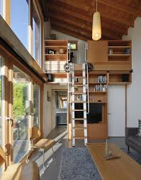 Mid Century Modern Tiny House Delightful Tiny House Loft Ladder Living Room Contemporary With