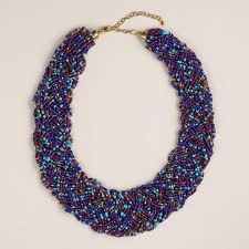 blue beaded necklace images Cost plus world market blue braided multi strand bead necklace jpg