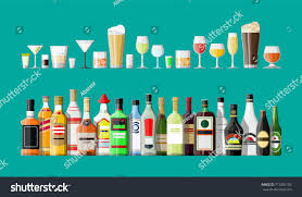 alcoholic drinks bottles alcohol drinks collection bottles glasses vodka stock illustration