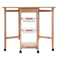 costway portable rolling drop leaf kitchen storage tile top wooden