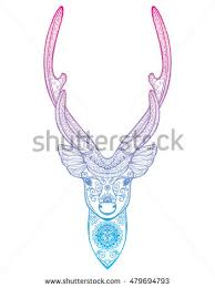 stylized portrait deer forest animals stock vector 479694808