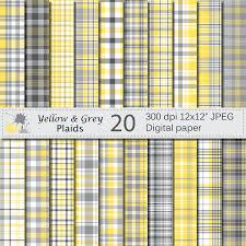 Plaids Yellow And Grey Plaids Digital Paper Set Yellow And Grey Plaid