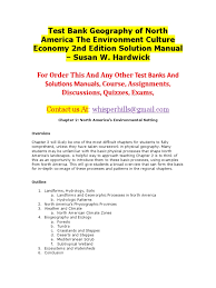 test bank geography of north america the environment culture