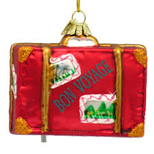 travel suitcase glass ornament