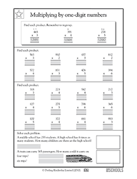 4th grade math worksheets more multiplication practice 1 digit