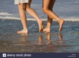 women s bare two women s legs and bare walking along a