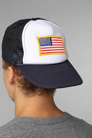 American Flag Snapback Hat Lyst Urban Outfitters Toddland Flag Patch Trucker Hat In White