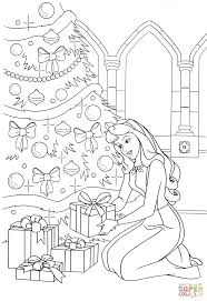aurora places all the gifts under the tree coloring page free