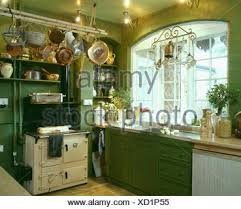 aga cuisine batterie de cuisine above aga oven in traditional green