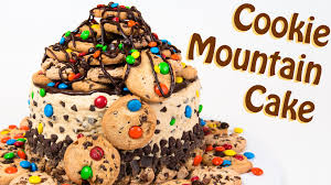 m u0026m u0027s cookie mountain cake with chocolate chip cookie dough from