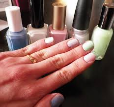 gel mani using regular nail polish peace love and glitter