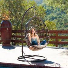 Patio Egg Chair Patio Swing Egg Seater Chair Hanging Stand Hammock Wicker Outdoor