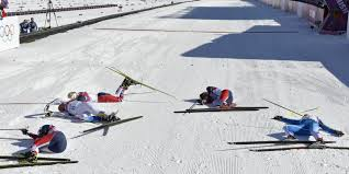 Ski Meme - nothing says exhaustion quite like the finish line of an olympic