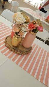 coral baby shower baby shower decor centerpieces jars painted with