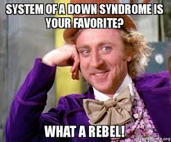 Rebel Meme - system of a down syndrome is your favorite what a rebel willy