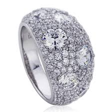 platinum pave rings images Double accent platinum plated sterling silver wedding ring round jpg