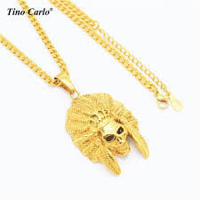 hip hop necklace images Skeleton indian chiefs necklace stainless steel gold color hiphop jpg