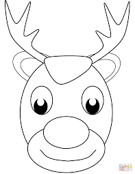 christmas reindeer face coloring page free printable coloring pages