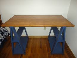 furniture sawhorse desk and toy shelf with wooden floor and wood
