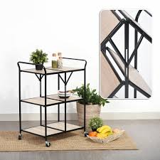 kitchen trolley island 3 tiers folding steel kitchen trolley dining serving island cart