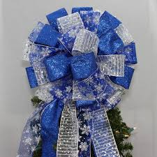 royal blue silver snowflake tree topper bow package