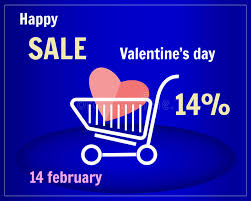 s day shopping sale of s day shopping cart with heart on a blue