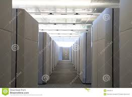 raised view of cubicle hallway in modern office royalty free