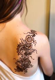 henna flowers tattoo on right back shoulder