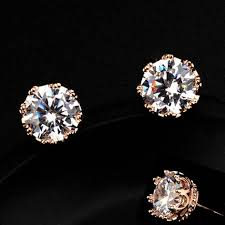 rhinestone earrings diamond crown golden trimmed rhinestone earrings lilyfair jewelry