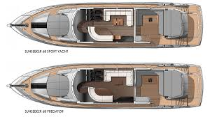 Yacht Floor Plan by Sunseeker Layouts Compared 68 Foot Yachts New Yacht Interiors