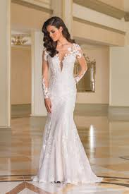 Wedding Dress Lace Sleeves Style 8870 Lace Fit And Flare Bridal Gown With Sheer Lace Sleeves