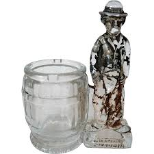 1915 charlie chaplin glass bank candy container toothpick