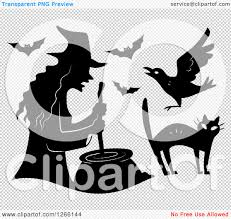 halloween bats transparent background clipart of a black silhouetted witch stirring a cauldron with