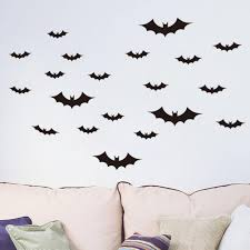 diy black flying bats wall sticker home decals animals halloween 29